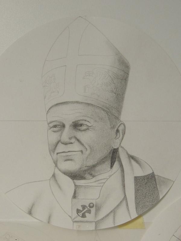 dessin du buste de Jean Paul 2 avec sa mitre