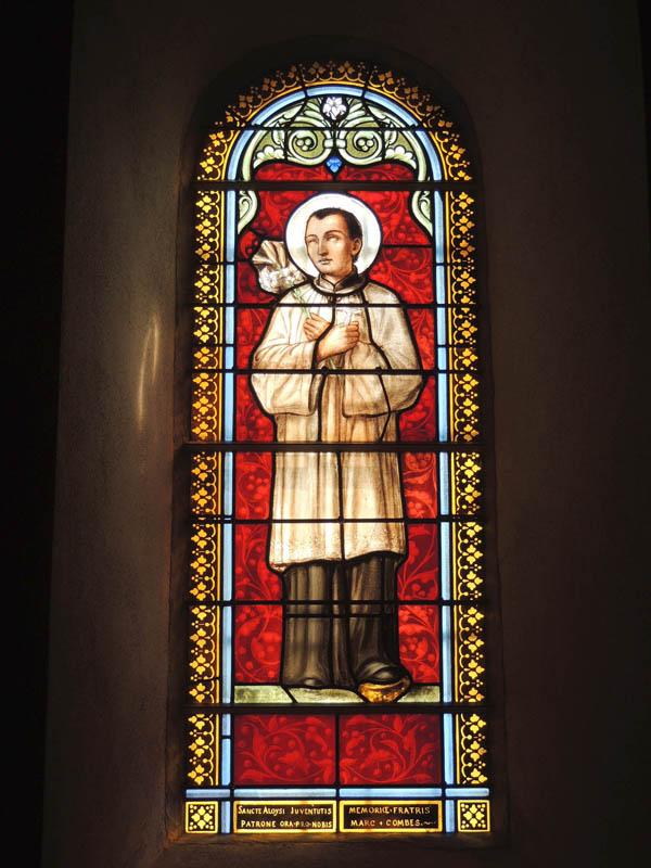 vitraux après travaux, partie basse du vitrail recréé, église de Paulinet