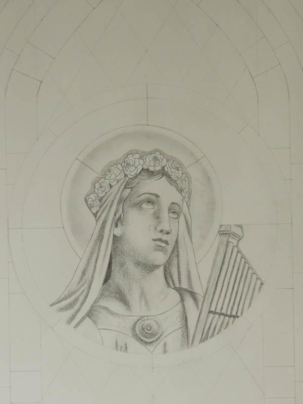 Dessin du buste et du visage de Ste Cécile pour un vitrail à l'église de Pouzounac (Le Garric)